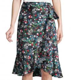 Black Multi Zoe Wrap Skirt