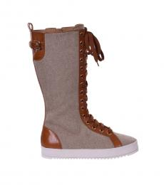 Brown Leather Canvas Sneaker Boots