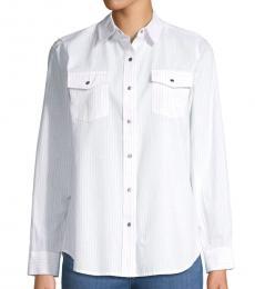 White Striped Cotton Collared Shirt