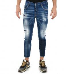 Dsquared2 Blue Printed Skinny Dan Jeans