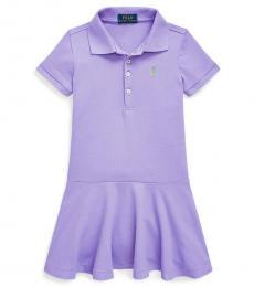 Ralph Lauren Little Girls Hampton Purple Mesh Polo Dress