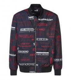 Love Moschino Black Allover Logo Jacket