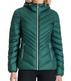 Michael Kors Dark Emerald Hooded Packabl Puffer Jacket