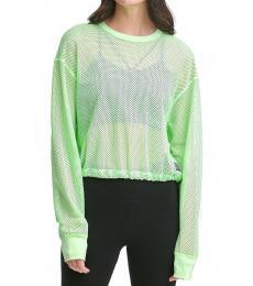 DKNY Light Green Sport Long-Sleeve Mesh Top