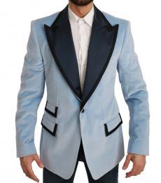 Light Blue Slim Fit Velvet Blazer