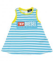 Diesel Baby Girls Blue Cotton Striped Dress