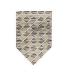 Beige Modern Check Silk Tie