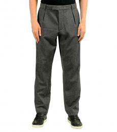 Grey Pleated Stretch Casual Pants