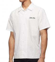 Calvin Klein Brilliant White Logo Short-Sleeve Shirt