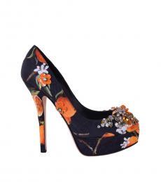 Black Orange Embellished Heels