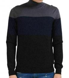 Multi Color Wool Turtleneck Sweater
