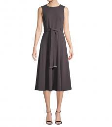 Grey V-Neck Midi Dress