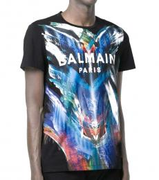 Black Cotton Abstract Print T-Shirt