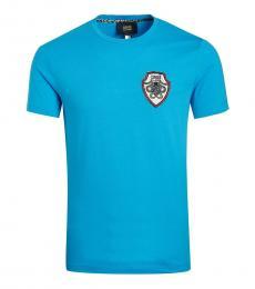 Cavalli Class Blue Snakes Big Patch T-Shirt