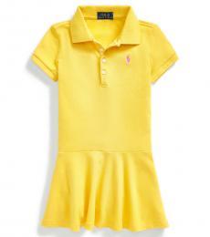 Ralph Lauren Little Girls Signal Yellow Mesh Polo Dress