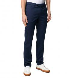 Brunello Cucinelli Navy Blue Cotton Tailored Trousers