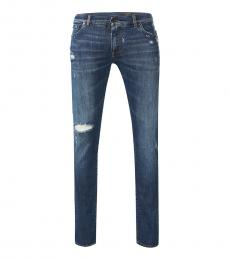Dolce & Gabbana Blue Solid Ribbed Jeans