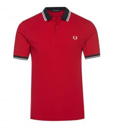 Red Contrast Collar Polo