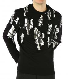 Black Striped Floral Sweatshirt