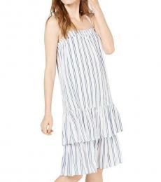 Michael Kors White Striped Drop-Waist Casual Dress