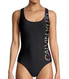 Calvin Klein Black Classic Logo One-Piece Swimsuit