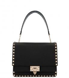 Valentino Garavani Black Rockstud Medium Shoulder Bag