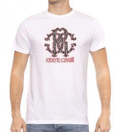 Roberto Cavalli White Logo Graphic T-Shirt