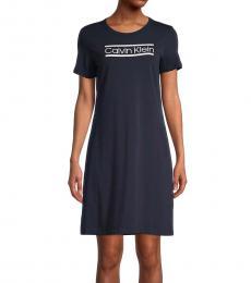 Indigo Stretch-Cotton T-Shirt Dress