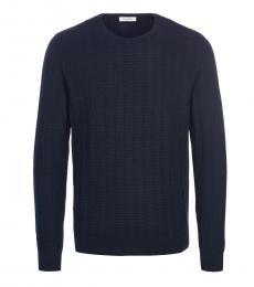 Calvin Klein Dark Blue Solid Knitted Sweater