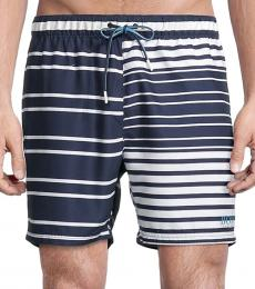 Hugo Boss Navy Blue Glasfish Striped Swim Shorts