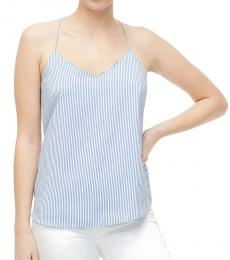 Banker Blue Striped Scalloped Cami Top