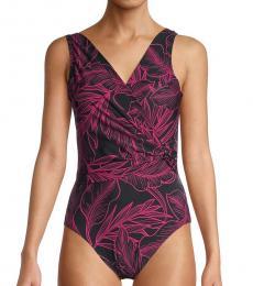 DKNY Black Leaf-Print One-Piece Swimsuit