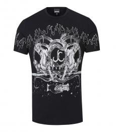 Just Cavalli Black Logo Fire Graphic T-Shirt