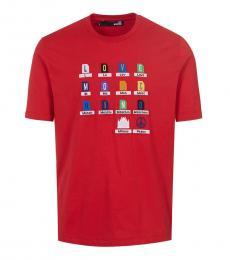 Red Graphic Crewneck T-Shirt