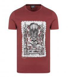 Just Cavalli Rust Graphic Print T-Shirt