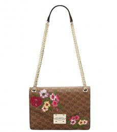 Brown Floral Monogram Medium Shoulder Bag
