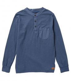 7 For All Mankind Boys Indigo Long Sleeve Henley T-Shirt