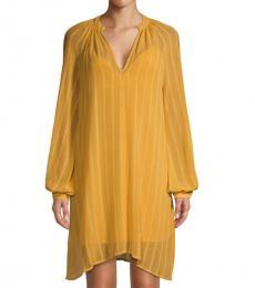 BCBGMaxazria Bright Gold Asymmetrical Mini Shift Dress