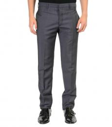 Dark Grey Flat Front Striped Dress Pants