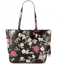 Karl Lagerfeld Black Canelle Floral Bow Large Tote