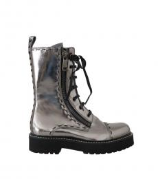 Silver Leather Zipper Boots