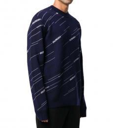 Balenciaga Dark Blue Allover Logo Sweater