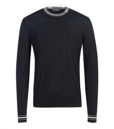 Black Neck Logo Sweater
