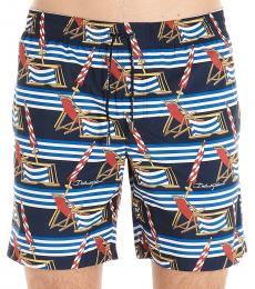 Dolce & Gabbana Navy Blue Printed Swim Shorts