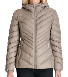 Michael Kors Taupe Hooded Packabl Puffer Jacket