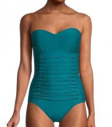 DKNY Teal Pleated Bandeau One-Piece Swimsuit