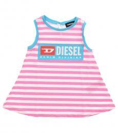 Diesel Baby Girls Pink Cotton Striped Dress