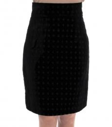 Dolce & Gabbana Dark Green Velvet Pencil Skirt