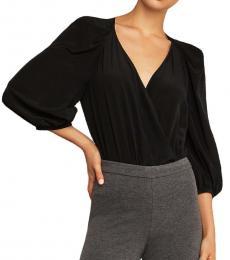 BCBGMaxazria Black Silk Drapey Bodysuit