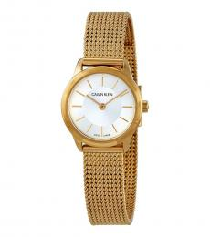 Gold Minimal Silver Dial Watch